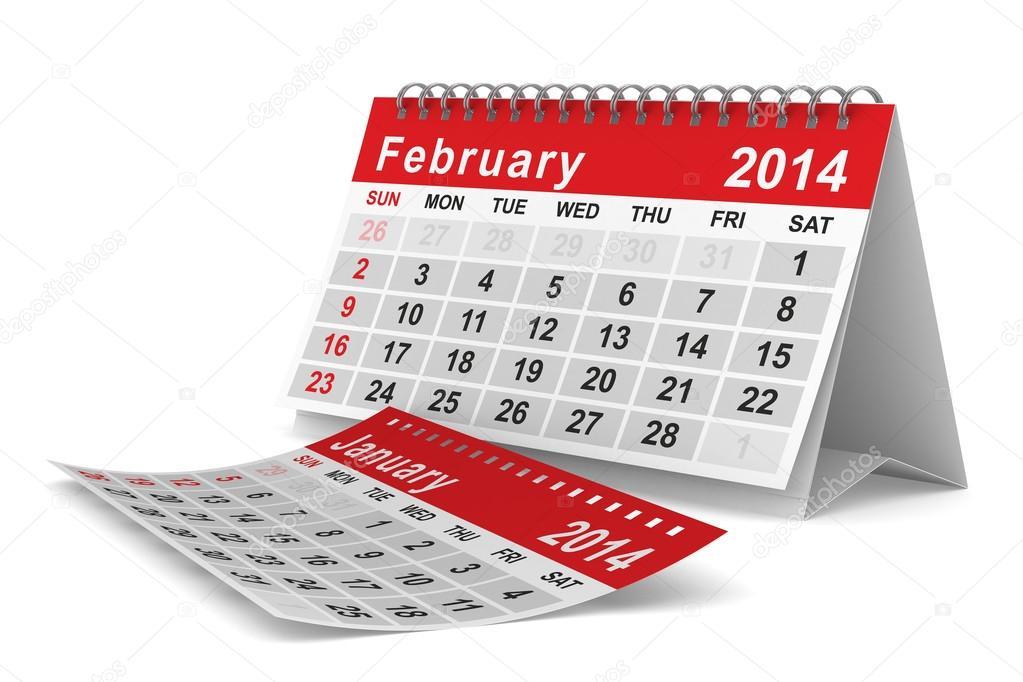 2014年2月日历表图_2014 年日历。2 月。孤立的 3d 图像 — 图库照片©ISergey#20729625