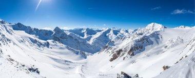 Snow mountain panorama, Stubaier Gletscher, Tyrol, Austria stock vector