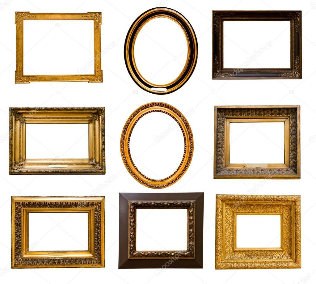 set di cornici dorate foto stock valphoto 21575695