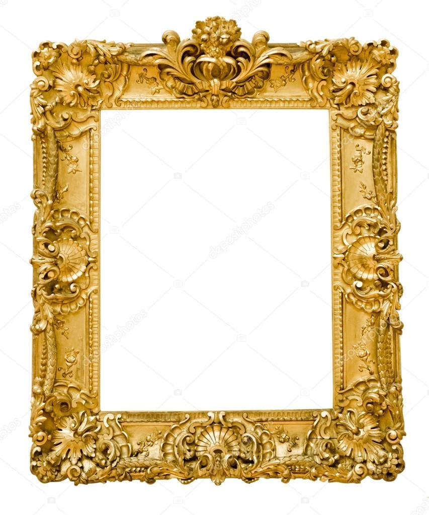 vintage gold frame, isolated on white