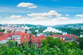 pohled na prague city a vltava river od vysehrad hill