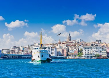 Cityscape with Galata Tower over the Golden Horn in Istanbul, Turkey stock vector