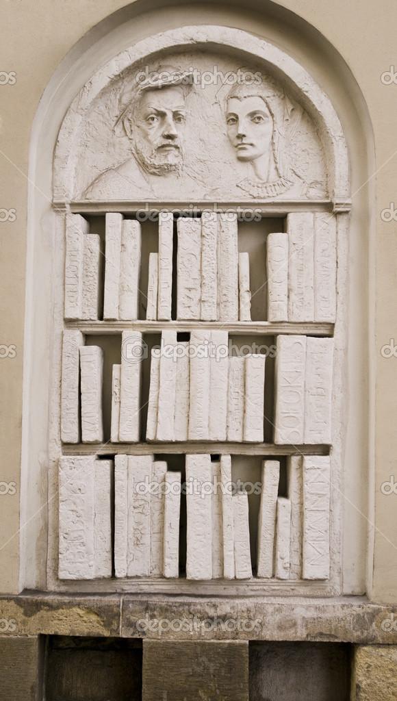 Stone Bookshelf In Ulica Kanonicza Stock Photo