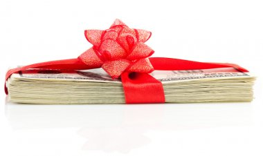 Stack of Cash With Red Bow