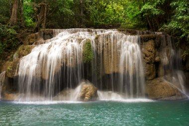 "Картина, постер, плакат, фотообои ""водопад эраван, канчанабури, таиланд постеры картины фото черно-белые"", артикул 21557111"