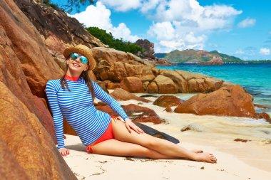 Woman at beautiful beach