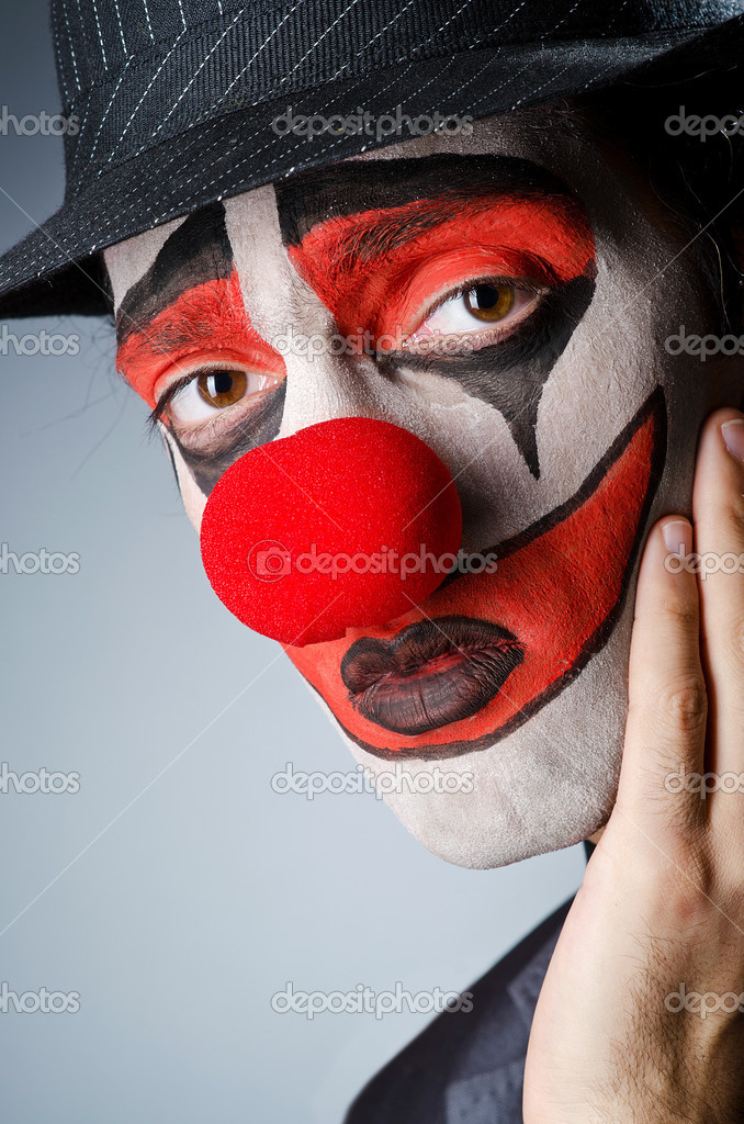Businessman With Clown Wig And Face Paint Stock Photo C Elnur