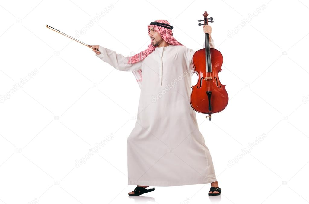 Arab man playing violin isolated on white — Stock Photo