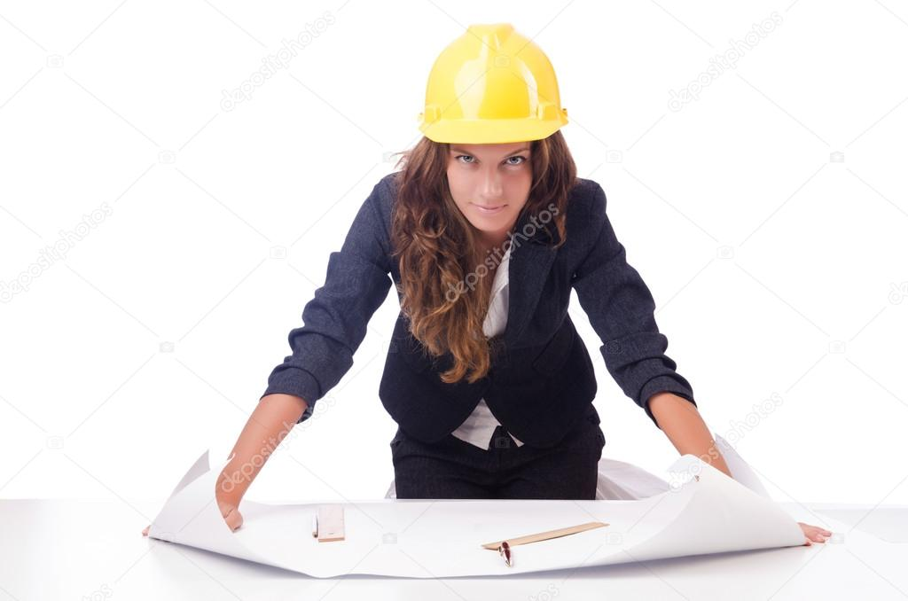 Woman architect with drawings on white