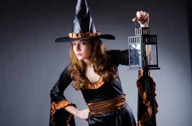 Witch in scary halloween concept