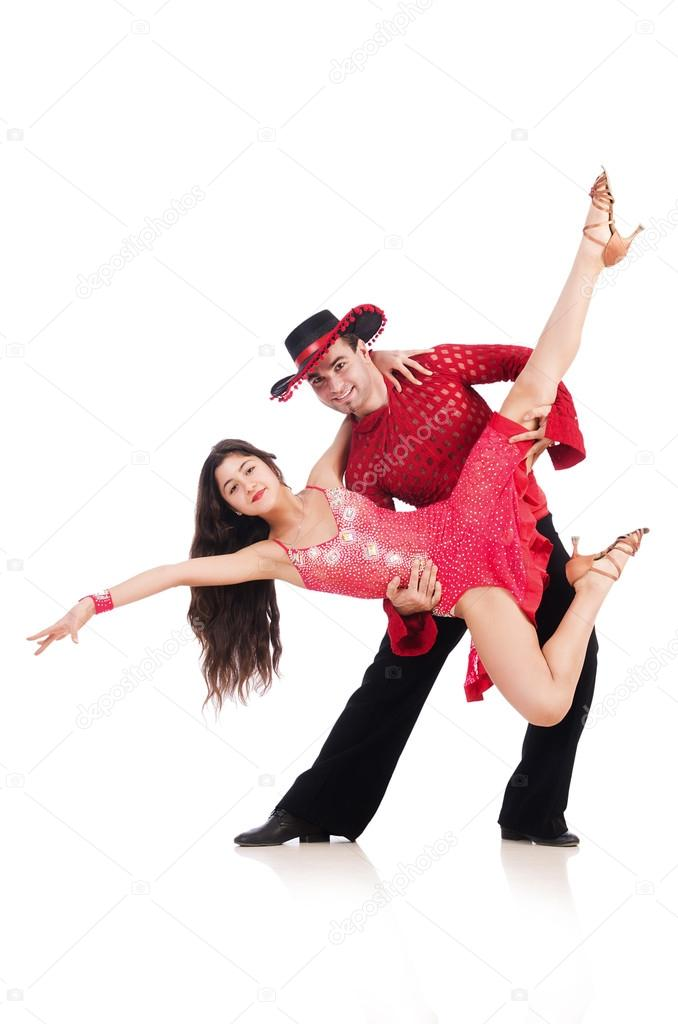 Pair of dancers isolated on the white