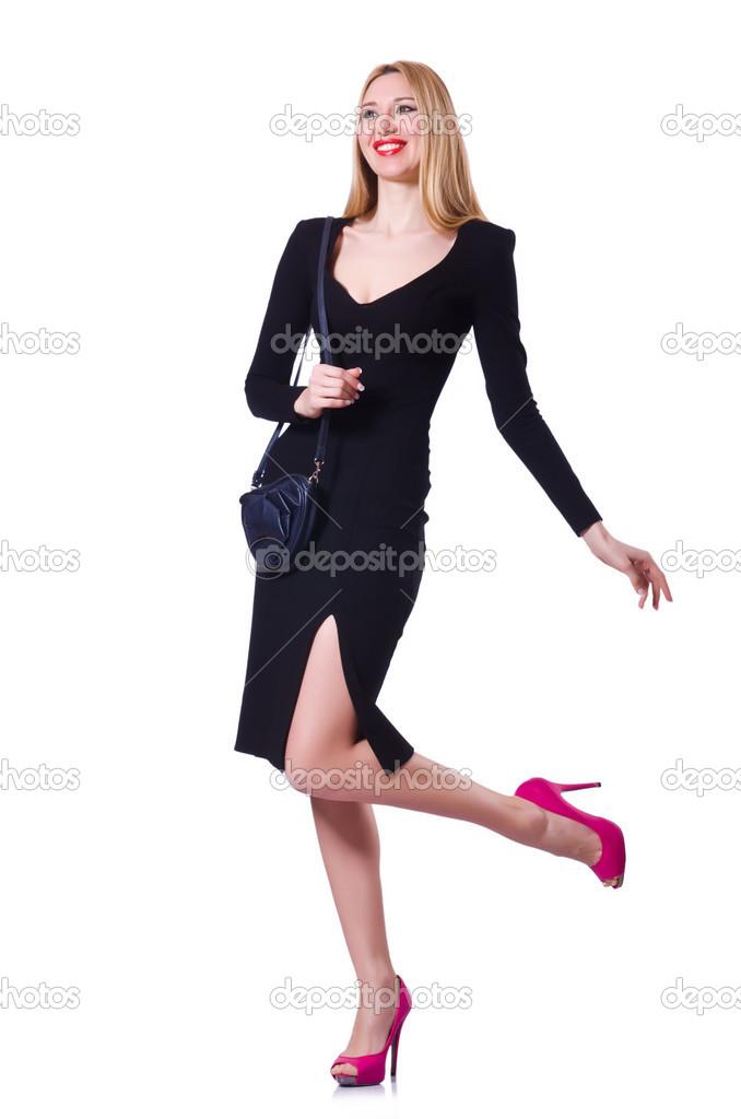 Mujer Vestida De Negro En Concepto De Moda En Blanco Foto
