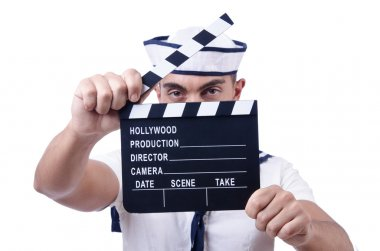 Sailor with movie clapper on white stock vector