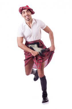 Scottish man dancing on white stock vector