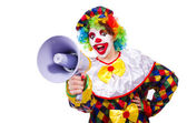 Photo Clown with loudspeaker on white