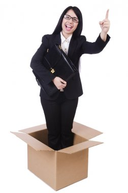 Businesswoman in thinking out of box concept