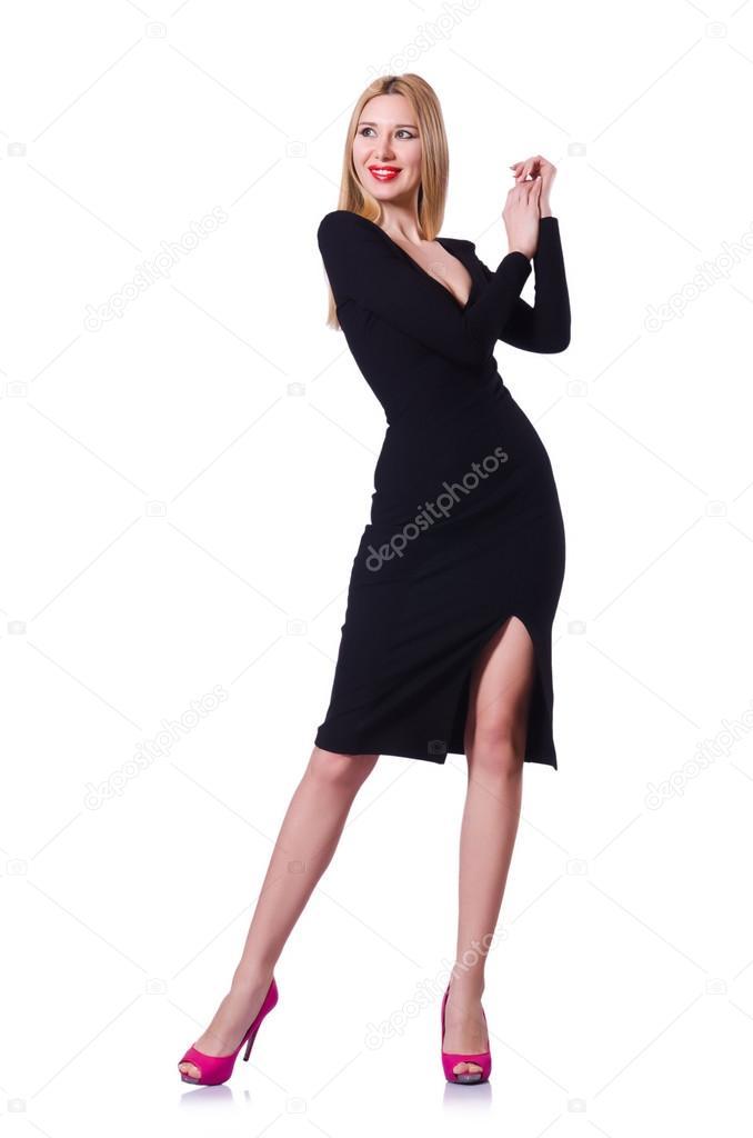 4db6ad448ce4 donna in abito nero nel concetto di moda su bianco — Foto Stock ...