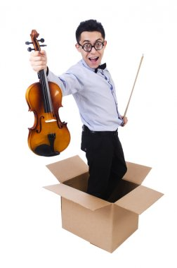 Man playing violin from the box stock vector
