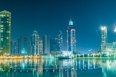 Dubai building at night illumination