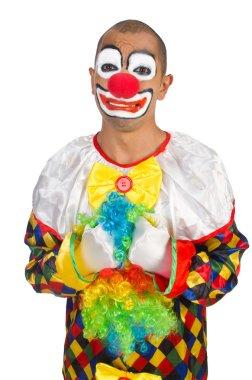 Sad clown isolated on white