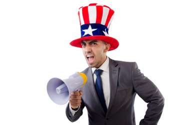 Man with loudspeaker and american hat stock vector