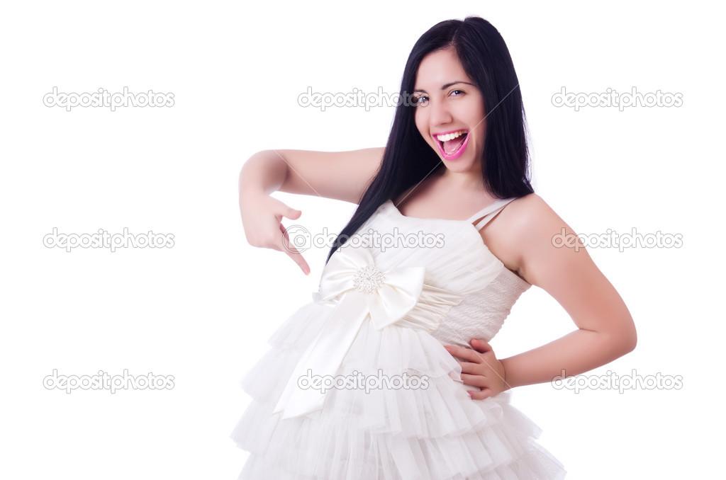 8886a0162 mujer embarazada en el vestido de boda en blanco — Foto de stock ...