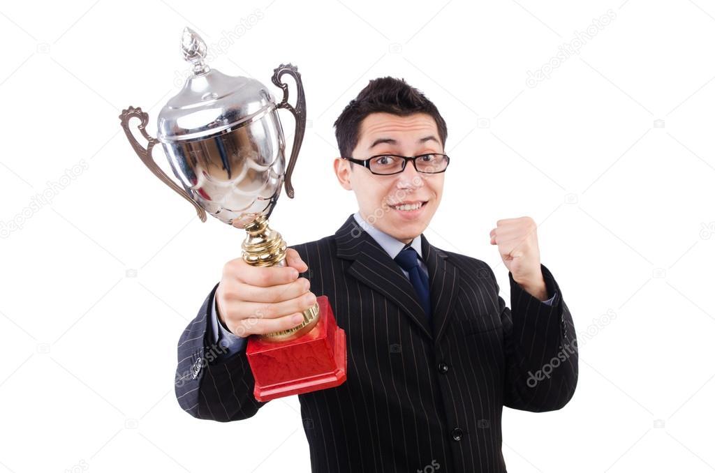 Funny guy receiving award