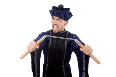Martial arts master with nunchucks