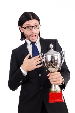 Businessman awarded with prize cup