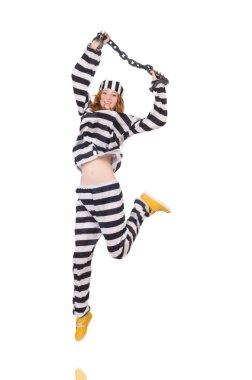 Prisoner in striped uniform