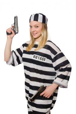 Woman prisoner with guns
