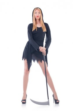 Young witch with scythe