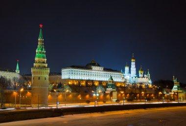 Moscow Kremlin at night,