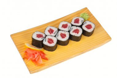 Plate of sushi roll isolated on white
