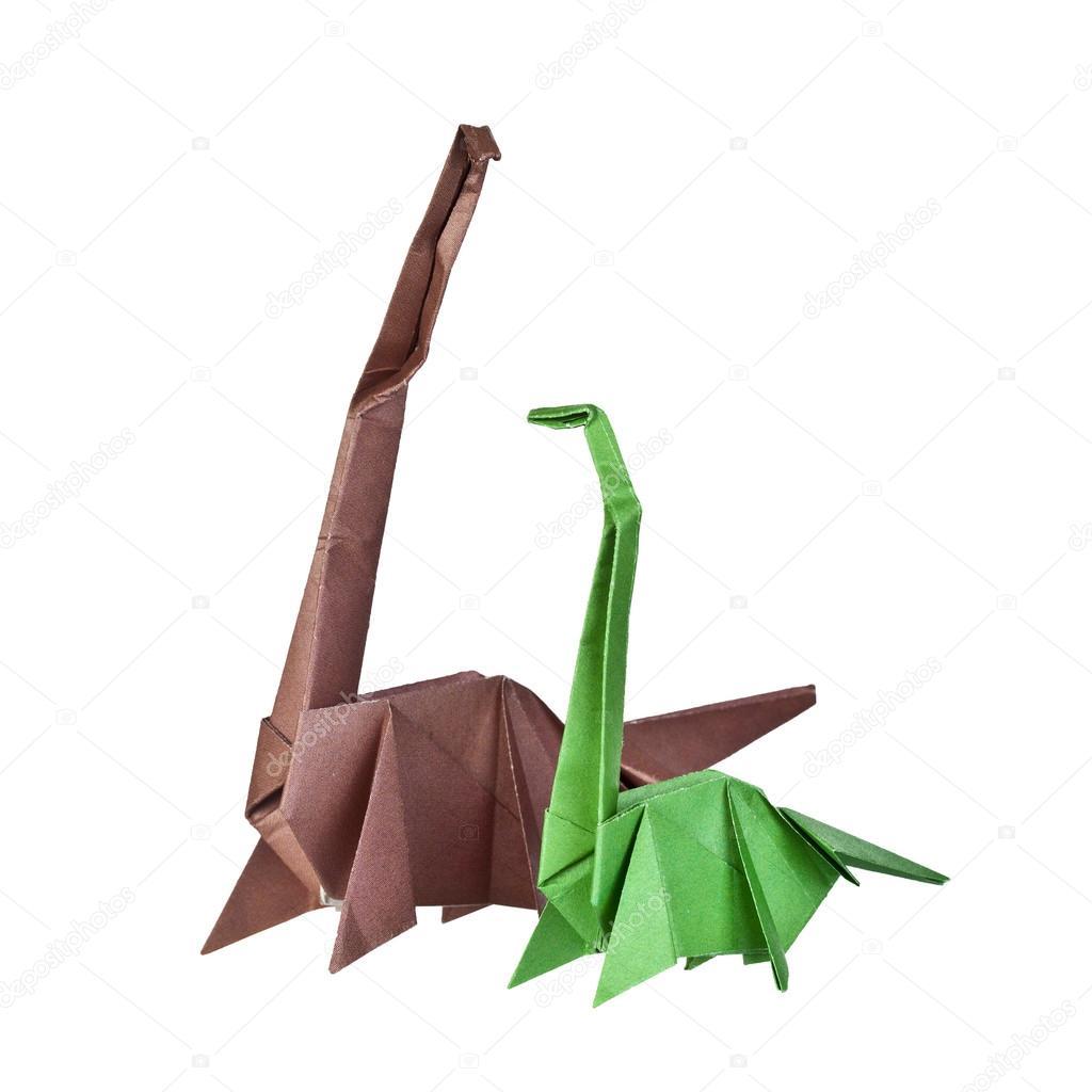 origami figuras de papel de dinosaurios Foto de stock kotomiti