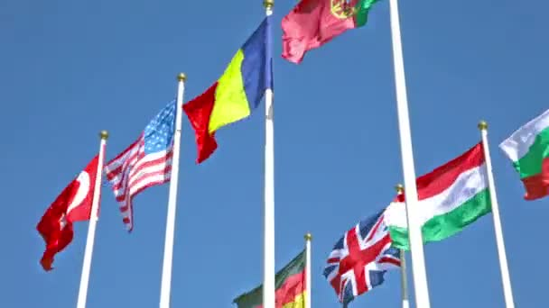 Flags fluttering in the wind
