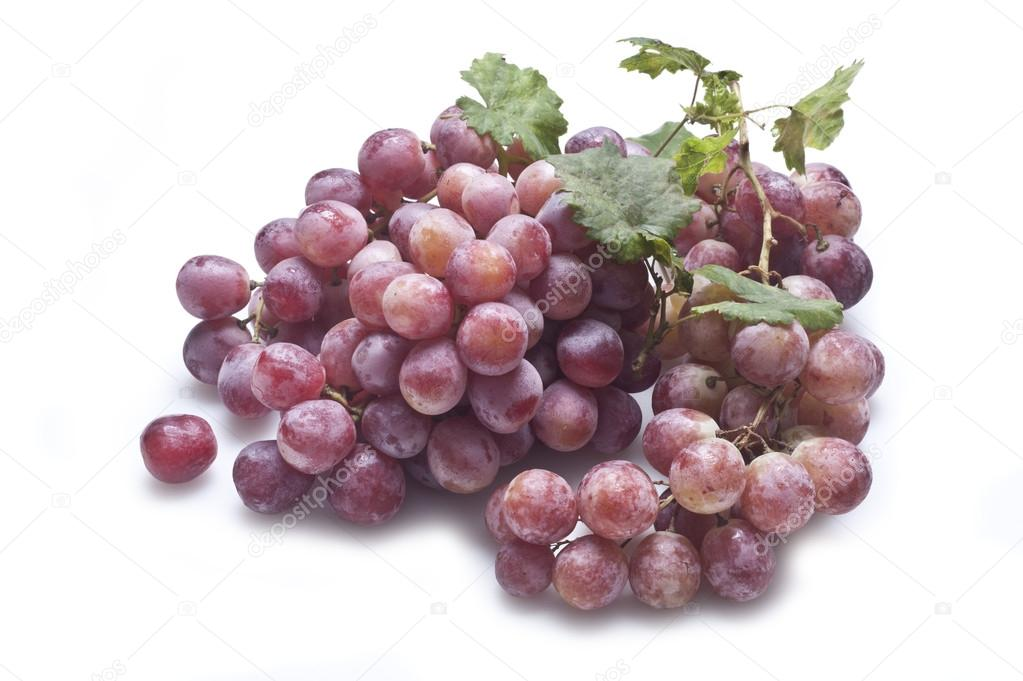 Red grape with leaves