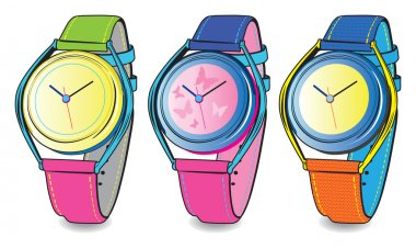 vector set of colourful watch
