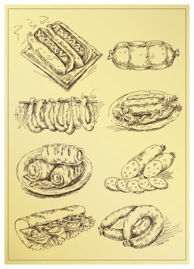 Set of hand drawing sausage