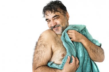 A happy man after bathing