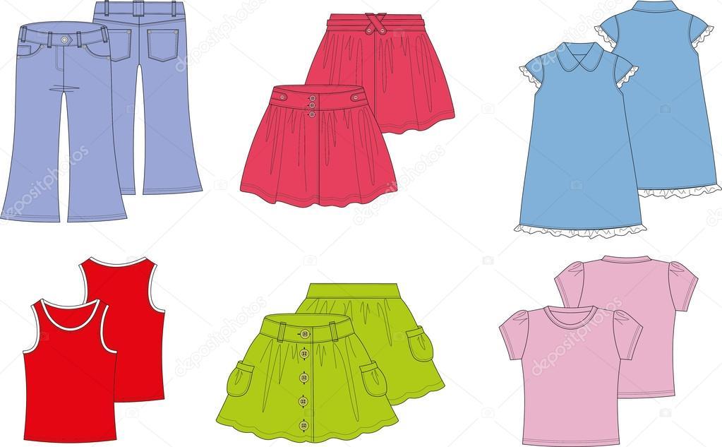 78a3d5f8eec0e5 літній одяг для дівчаток — Стоковий вектор — колір © grafnata #44603029