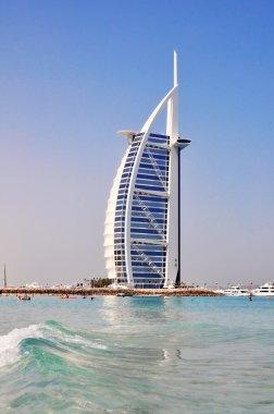 DUBAI, UAE - JUNE 8: Burj Al Arab hotel on June 8, 2012 in Dubai. Burj Al Arab is a luxury 5 star hotel built on an artificial island in front of Jumeirah beach.