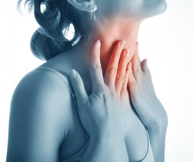 Acute pain in a throat at the young women