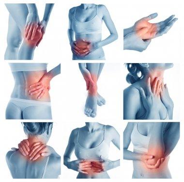 Woman having pain at several part of body