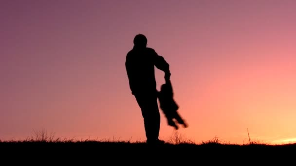 Father rotate girl sunset