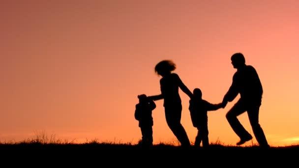Funny family sunset