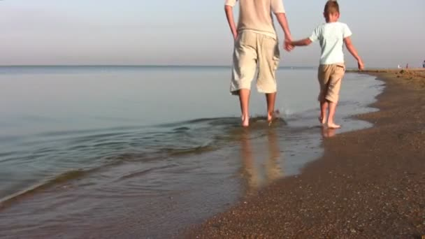 Walking father with son on beach