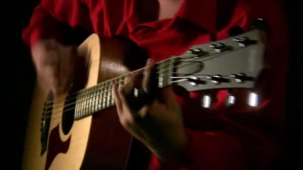 Play on guitar in dark.