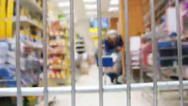Shopping cart in shop, grating