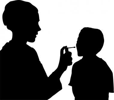 Vector Doctor assessing patient